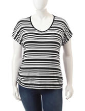 Wishful Park Juniors-Plus Ruched Black & White Striped Top