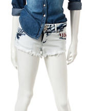 Almost Famous Americana Frayed Acid Wash Shorts