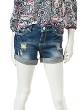 Almost Famous Distressed Double Roll-Cuff Denim Shorts