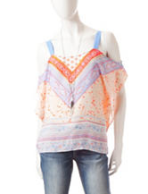 Heart Soul Multicolor Paisley Print Cold Shoulder Top with Necklace