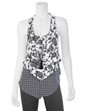 A. Byer Black & White Print Overlay Top with Necklace
