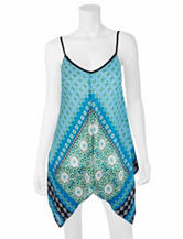 A. Byer Multicolor Tribal Print Handkerchief Tank Top