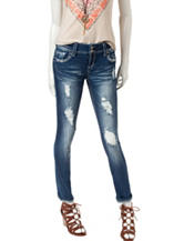 Almost Famous Medium Wash Distressed Skinny Jeans