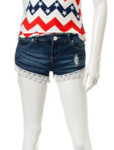 Almost Famous Dark Wash Crochet Hem Denim Shorts