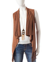 Heart Soul 3-pc. Faux Suede Vest & Cami Set with Necklace