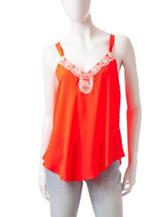 Heart Soul Neon Coral Crochet Top