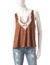 Heart Soul Faux Suede Crochet Tank Top