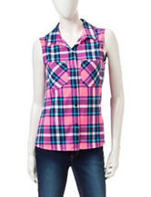 Ultra Flirt Multicolor Plaid Print Top