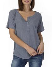Unionbay® Grey Lace Back Henley Knit Top