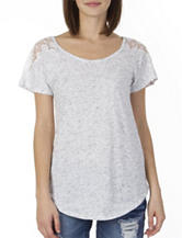 Unionbay® White Shoulder Lace Space Dye Top