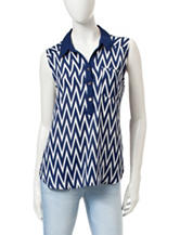 Wishful Park 2-Tone Chevron Print Chiffon Top