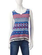 Wishful Park Multicolor Print Tassel Trim Tank Top