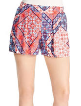 Jessica Simpson Multicolor Patchwork Print Pleated Shorts