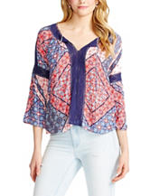 Jessica Simpson Multicolor Patchwork Print Crochet Peasant Top