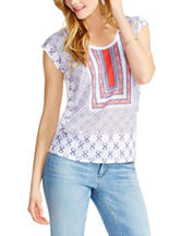 Jessica Simpson Multicolor Abstract Print Split Back Top