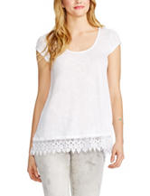 Jessica Simpson Solid Color Crochet Hem Top
