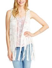 Jessica Simpson White Macrame Tassel Vest
