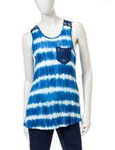 Wishful Park Blue And White Crochet Tank Top