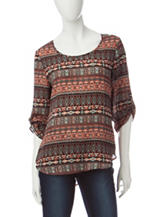 Wishful Park Striped Aztec Print Top