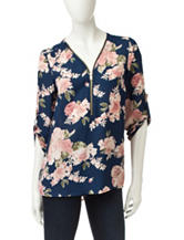 Wishful Park Zip Front Floral Print Top