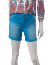 Signature Studio Neon Blue Cuffed Denim Shorts