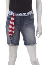 Signature Studio Medium Wash Americana Frayed Denim Shorts