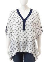 Liberty Love Junior-Plus Navy & White Anchor Print Chiffon Top