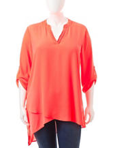 Liberty Love Juniors-plus Coral Tiered Top
