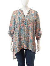 Liberty Love Juniors-plus Tiered Paisley Print Top