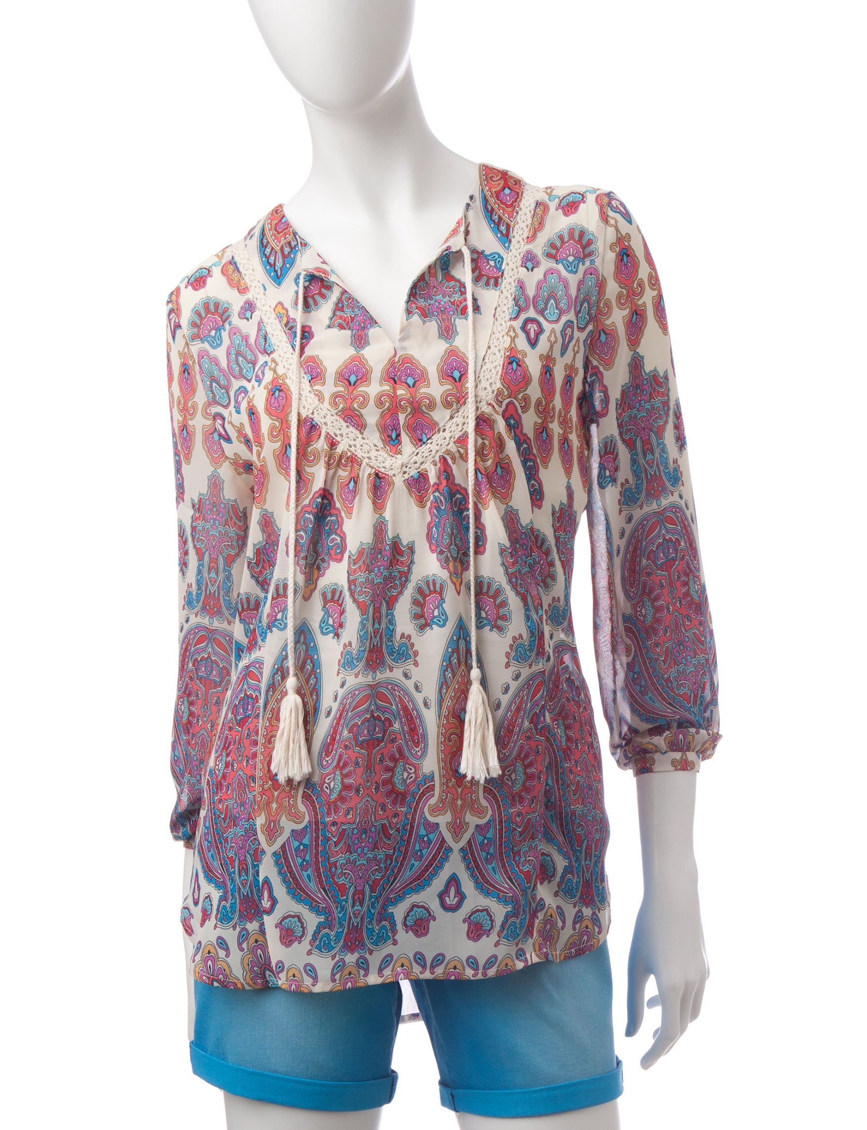 Signature Studio Blue / Coral Shirts & Blouses