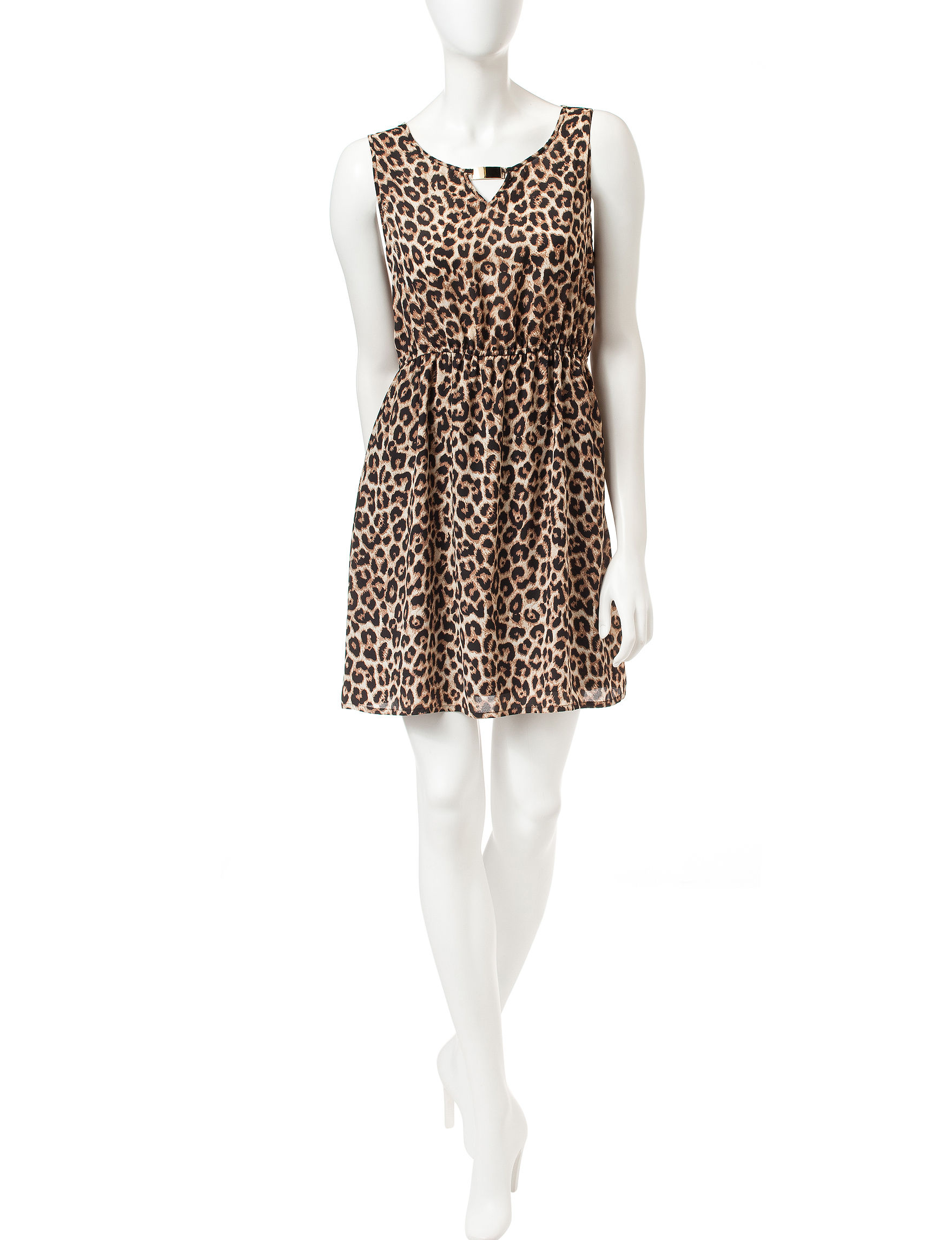 Justify Leopard Fit & Flare Dresses