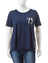 Liberty Love Juniors-plus Navy Abstract Woven Top
