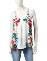 Jolt Tropical Mirror Print Top