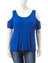 Wishful Park Junior-Plus Royal Blue Cold Shoulder Top