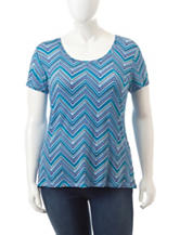 Wishful Park Juniors-Plus Multicolor Chevron Print Top