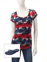 Wallflower Americana Palm Tree Top with Flip Flops