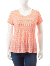Wishful Park Junior-plus Orange & White Mini Ikat Print Top