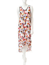 Kensie Abstract Print Hi-Lo Maxi Dress