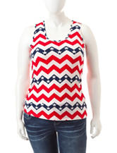 Wishful Park Juniors-plus American Chevron Print Tank Top