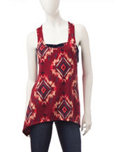 Wallflower 3-pc. Burgundy Aztec Diamond Tank Top with Bandeau & Flip Flops