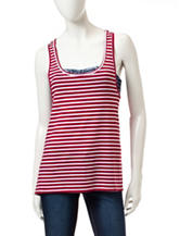 Wallflower 3-pc. Red & White Tank Top with Bandeau & Flip Flops
