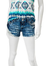 Almost Famous Crochet Acid Wash Shorts