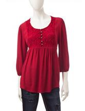 Heart Soul Crimson Crochet Babydoll Top