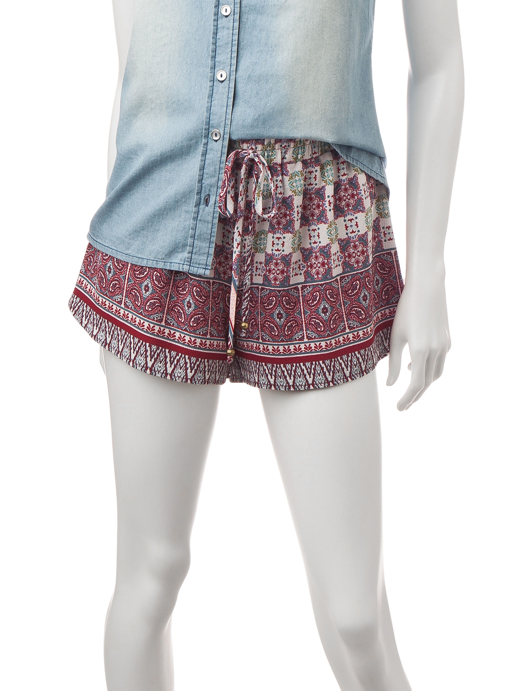 Heart Soul Red Multi Soft Shorts