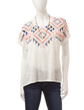 My Michelle Multicolor Aztec Print Top with Necklace