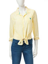 U.S. Polo Assn. White & Yellow Striped Tie-Front Top