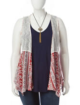 Self Esteem Juniors-plus 3-pc. Crochet Woven Vest & Top