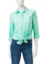 U.S. Polo Assn. Medium Green Woven Top