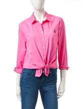 U.S. Polo Assn. Pink Tie Front Woven Top