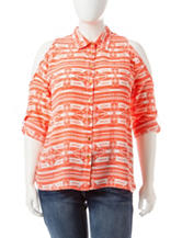 Justify Juniors-plus Tribal Print Cold Shoulder Top